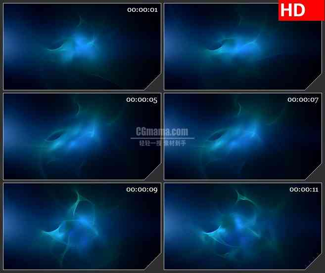 BG3751柔软水蓝色漩涡光影黑色背景led大屏背景高清视频素材