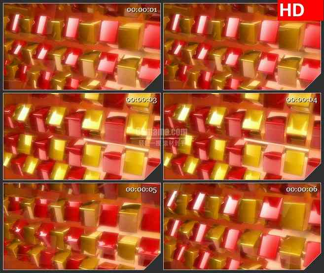 BG3754三维立体红色换三个半透明盒子立方体旋转led大屏背景高清视频素材