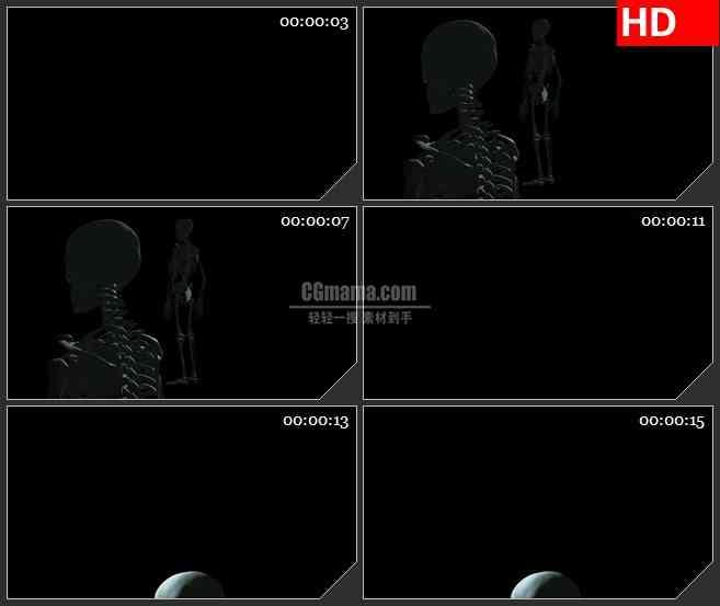 BG3758三维银色立体光管架构旋转穿越黑色背景led大屏背景高清视频素材