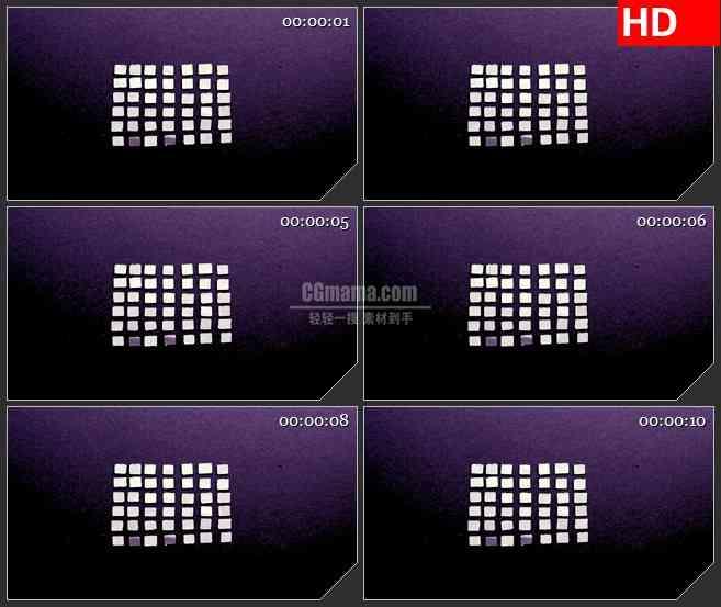 BG3777神奇的白色小方块旋转生长动画led大屏背景高清视频素材