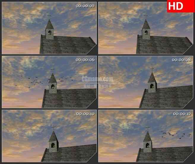 BG3822夕阳下的教堂led大屏背景高清视频素材