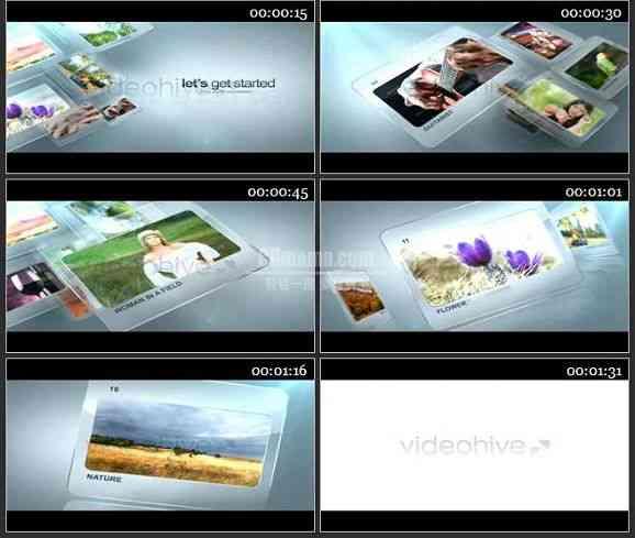 AE2259-玻璃质感图片切换幻灯片图文展示