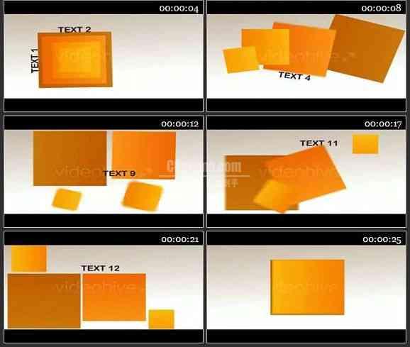 AE2318-4个方块动画 文本展示