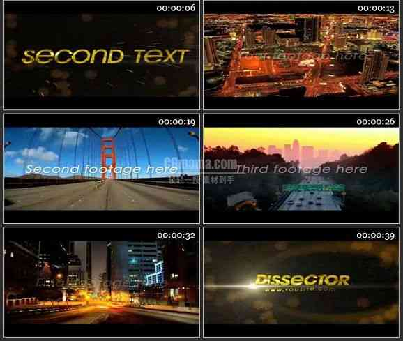 AE2319-都市风景 文本展示 片头