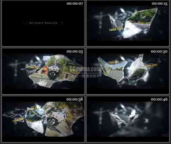 AE2405-玻璃碎片上视频展示