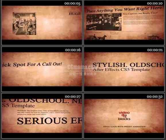 AE2424-旧报纸风格电视包装 文本展示