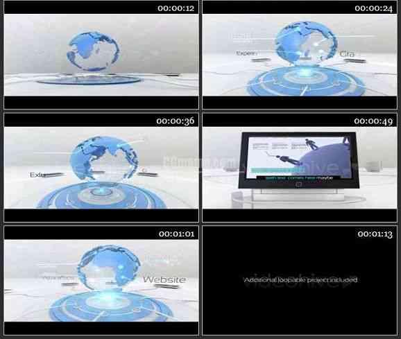 AE2445-商务类地球经纬动画产品展示