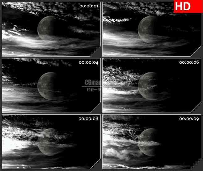 BG3869阴冷色调 云层中的月亮led大屏背景高清视频素材