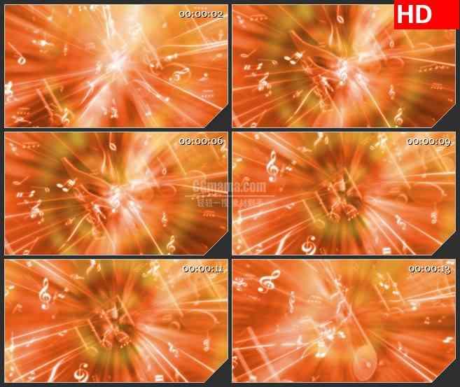 BG3871音乐符号橙色背景动感led大屏背景高清视频素材