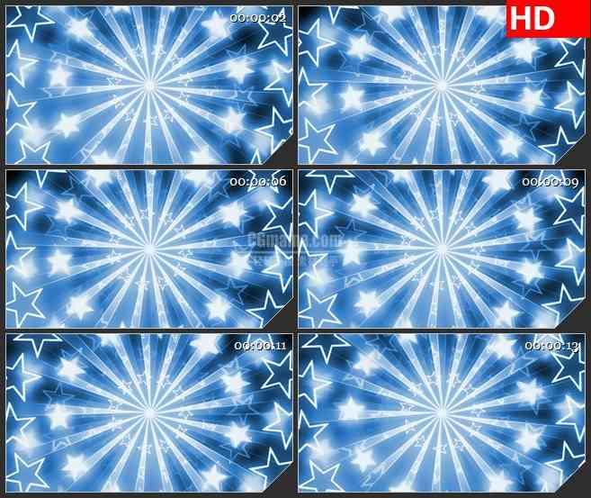 BG3835旋转的白色星星五星蓝色背景led大屏背景高清视频素材