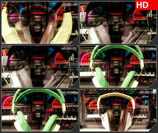 BG3881音乐元素 疯狂的耳麦led大屏背景高清视频素材