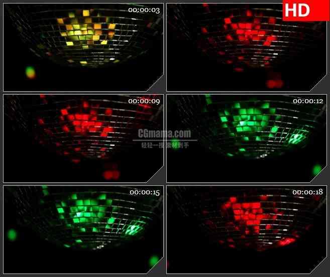BG3920转动的多彩亮片迪厅舞球led大屏背景高清视频素材