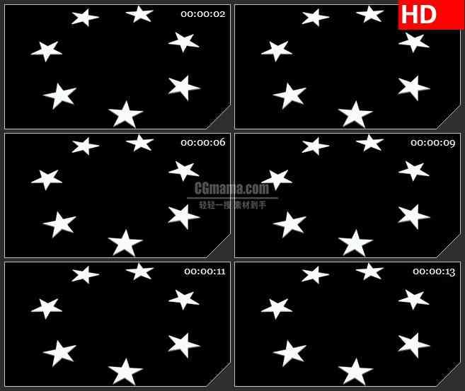 BG3924转动的银白色五角星圆环黑色背景led大屏背景高清视频素材