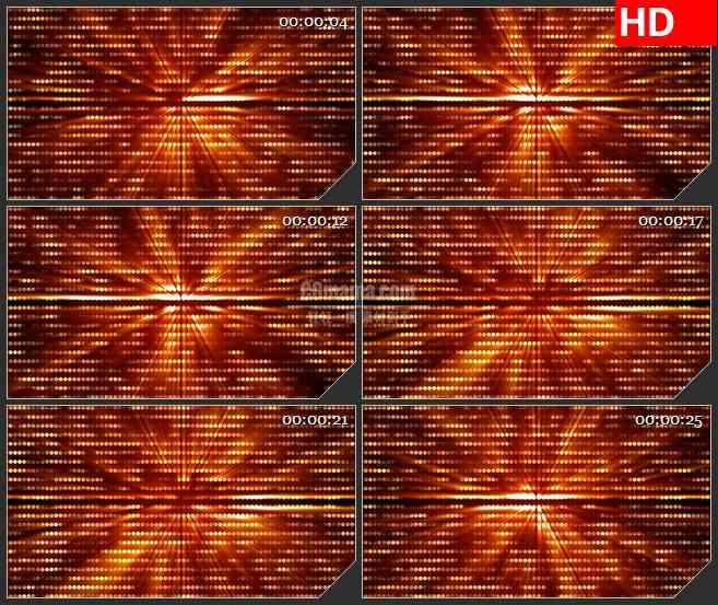 3966橙红色圆形波点粒子闪烁光芒照耀背景墙led大屏背景高清视频素材