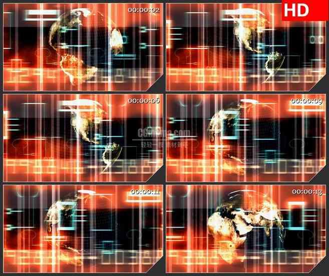BG3971橙色背景数字跳动三维立体地球转动led大屏背景高清视频素材