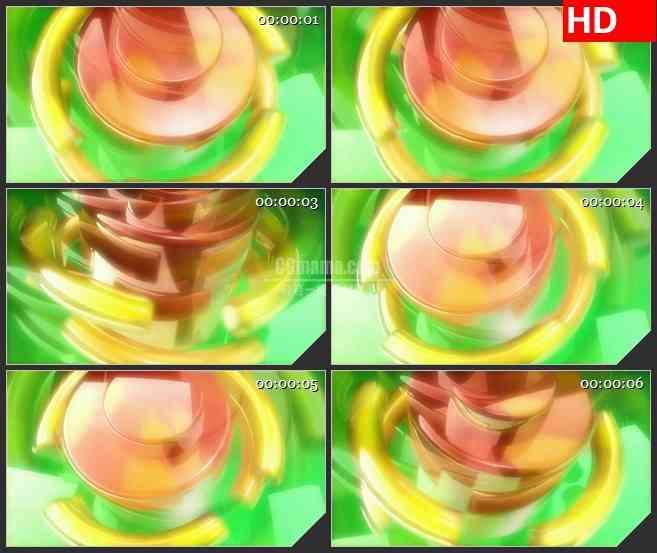 BG3975橙色黄色绿色半透明活塞三维旋转led大屏背景高清视频素材
