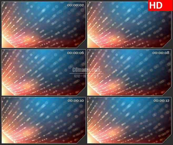 BG3977橙色蓝色渐变背景条形粒子光斑led大屏背景高清视频素材