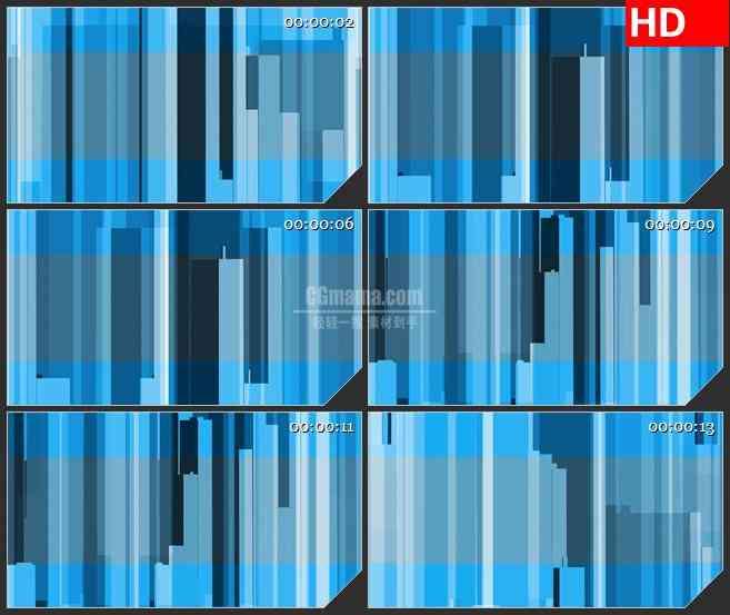 BG3984抽象蓝色城市楼房竖条交错移动led大屏背景高清视频素材