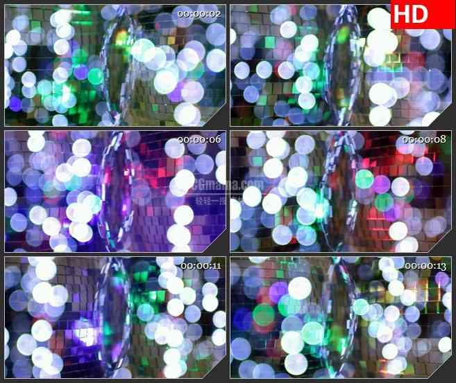 BG3994迪斯科亮片球快速旋转特写白色光影光斑闪烁led大屏背景高清视频素材