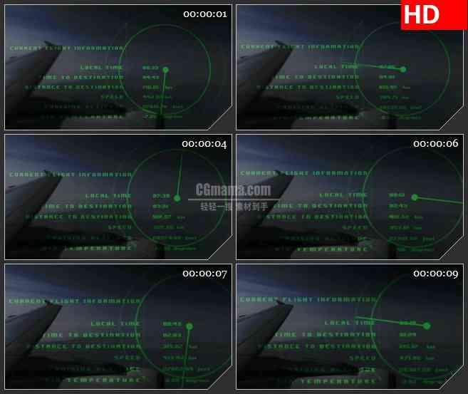BG4009飞机仪表盘数据读取led大屏背景高清视频素材