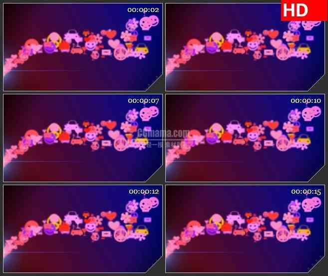BG4014粉色红色黄色多彩笑脸花朵复古图标飞出led大屏背景高清视频素材