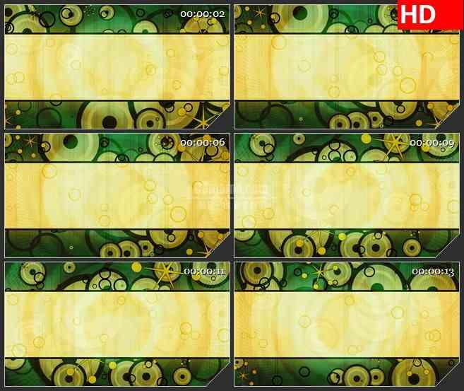 BG4015复古标题黄绿色抽象小花旋转led大屏背景高清视频素材