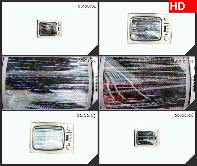 BG4024复古电视机干扰信号雪花点条纹屏幕运动白色背景led大屏背景高清视频素材