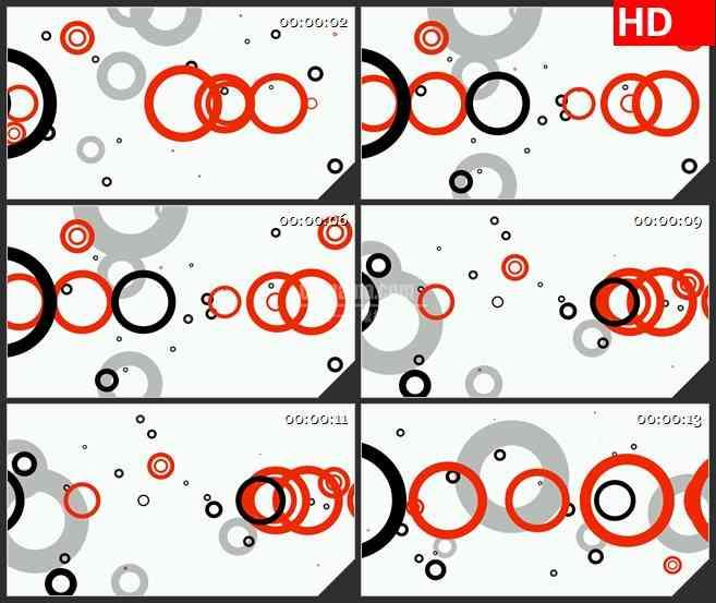 BG4029复古红色黑色灰色圆环缩放白色背景led大屏背景高清视频素材