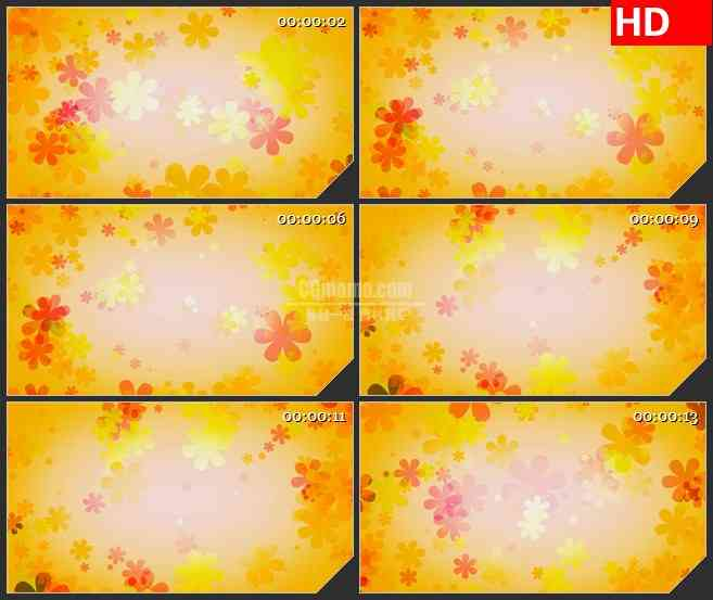BG4031复古黄色花朵旋转led大屏背景高清视频素材