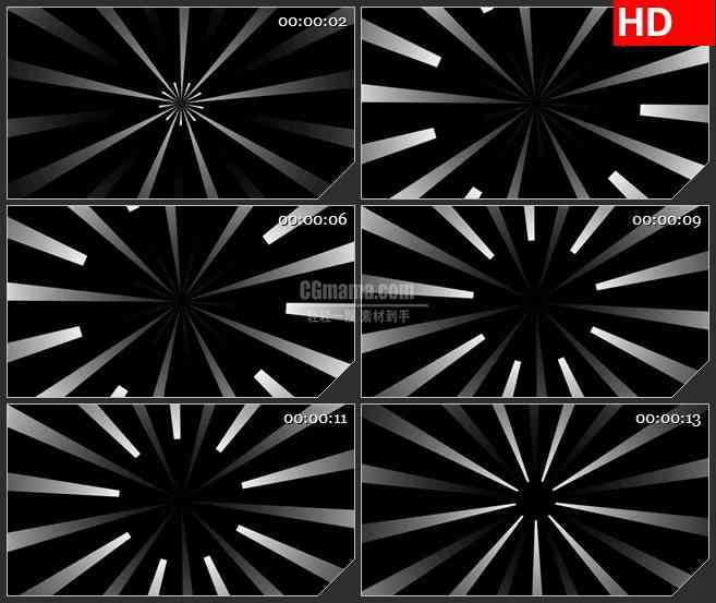 BG4049复古线条缩放放射黑色背景带透明通道led大屏背景高清视频素材