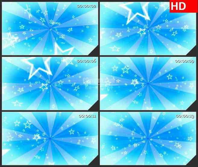 BG4050复古旋转蓝色淡蓝色五角星粒子led大屏背景高清视频素材