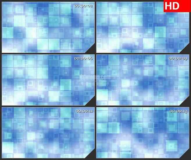 BG4064滚动发光白色淡蓝色回型闪烁盒子led大屏背景高清视频素材