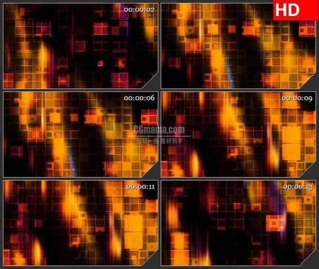 BG4066滚动发光橙色黄色火焰回型闪烁盒子led大屏背景高清视频素材