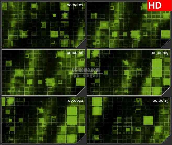 BG4067滚动发光果绿色黑色回型闪烁盒子led大屏背景高清视频素材