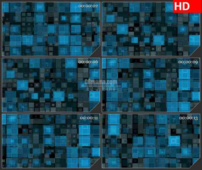BG4069滚动发光蓝色黑色回型闪烁盒子led大屏背景高清视频素材