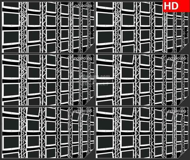 BG4089黑色的屏幕墙旋转led大屏背景高清视频素材