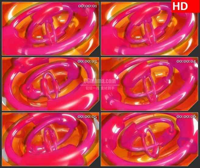BG4098红色橙色半透明半圆环旋转led大屏背景高清视频素材