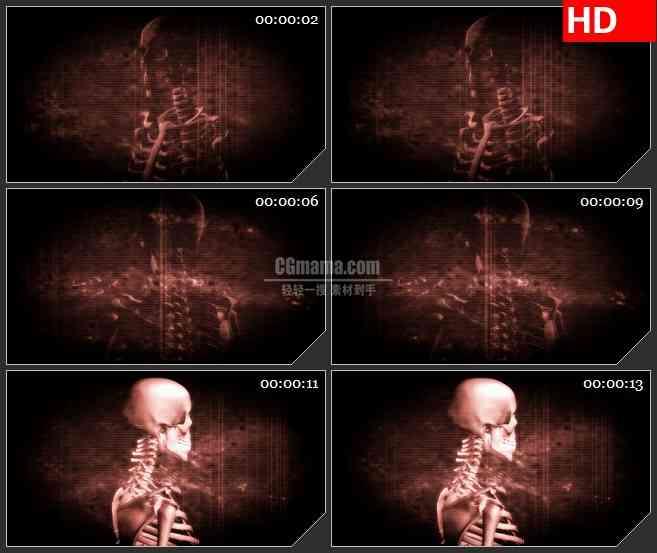 BG4115红色骷髅条纹背景led大屏背景高清视频素材