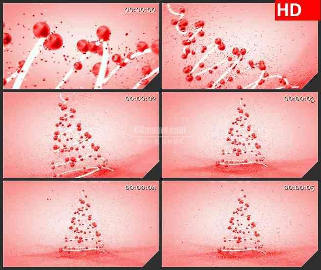 BG4116红色粒子涡流螺旋圣诞树粉色背景led大屏背景高清视频素材