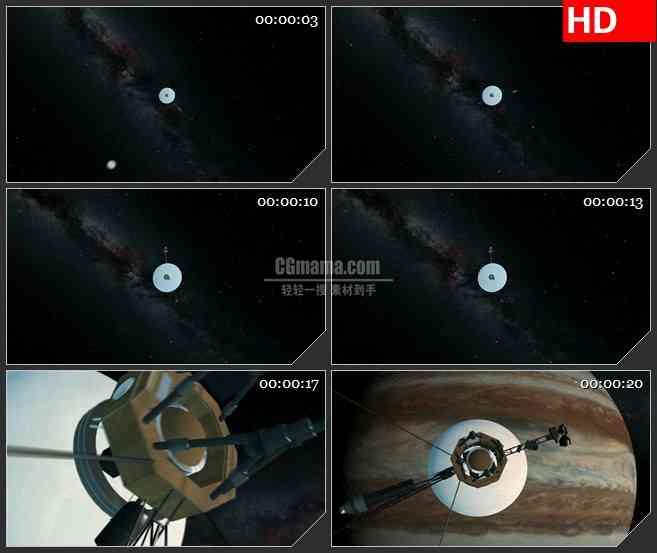 BG4142环绕木星的卫星太空led大屏背景高清视频素材