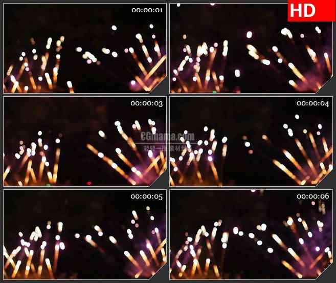 BG4154火花流烟花焰火绽放黑色背景led大屏背景高清视频素材