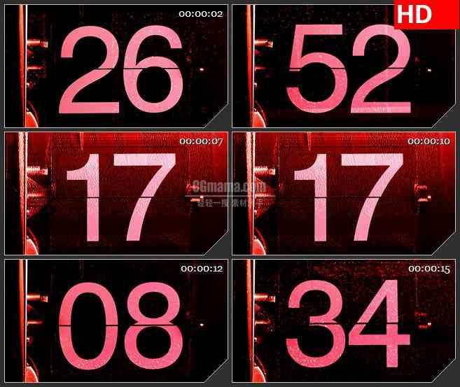 BG4155机械红色翻页时钟倒计时led大屏背景高清视频素材