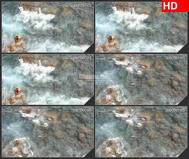 BG4157急流礁石水花特写led大屏背景高清视频素材