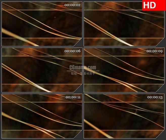 BG4165金色波浪线条标题框黑色背景带通明通道led大屏背景高清视频素材