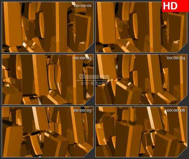 BG4166金色齿块金子立体旋转led大屏背景高清视频素材