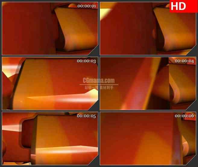 BG4172橘红色三角形立体旋转led大屏背景高清视频素材