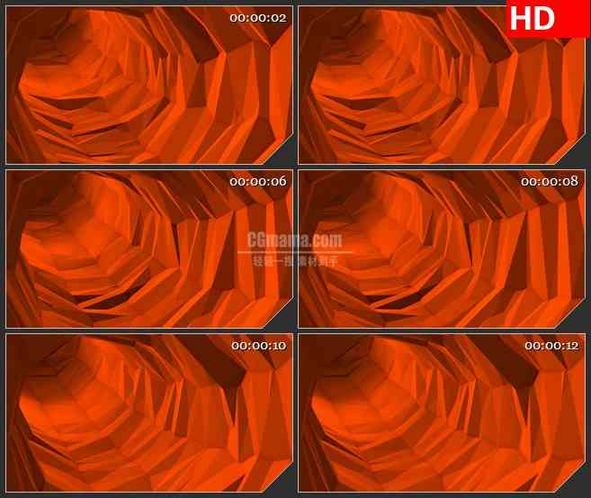 BG4173橘色棱角管道穿梭led大屏背景高清视频素材