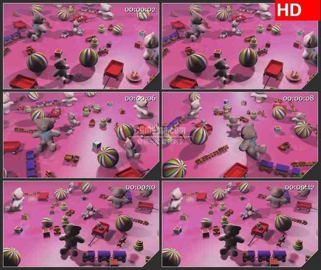 BG4175卡通玩具皮球小熊积木小火车三维粉色背景led大屏背景高清视频素材