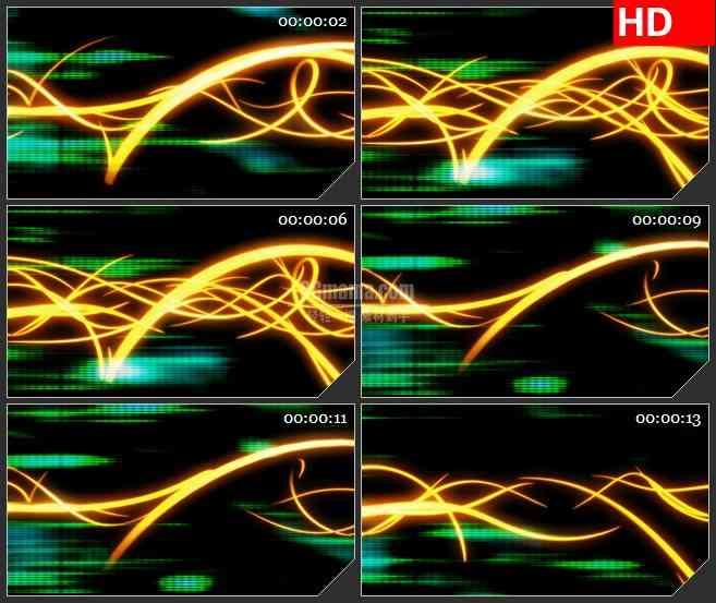 BG4176科幻橙黄色波浪穿梭光条绿色光斑led大屏背景高清视频素材