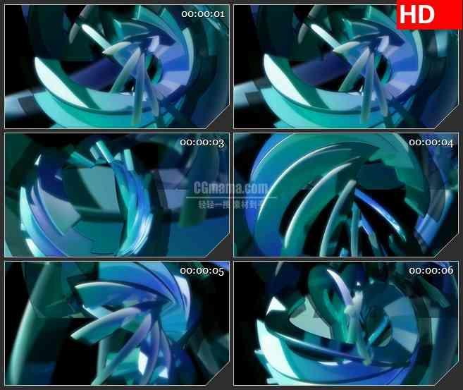BG4181蓝绿色半透明立体半圆环交错旋转黑色背景led大屏背景高清视频素材
